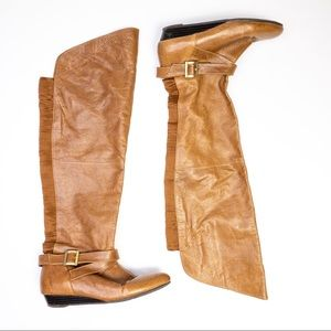 Chinese Laundry Faux Leather Knee Wedge Boots Tan